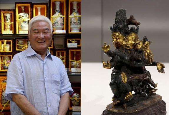 江吉雄,电视制作人,《正大综艺》创始人。上海的家中收藏有上千件春宫作品,包括瓷杂工艺品、骨雕、象牙雕、春宫图等等。右图为他收藏的鎏金欢喜佛。
