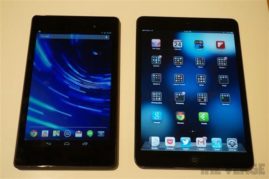 新Nexus 7(左)对比iPad mini(右)