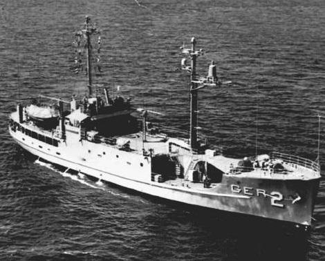 """资料图:上世纪60年代被朝鲜俘获的美军间谍船""""普韦布洛号""""。"""