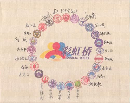 """2013年参加""""彩虹桥""""项目的中国学生们向中国银行赠送纪念品--由25名学生所在大学的校徽组成的图案及每位学生的签名"""