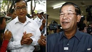 反对党领袖桑兰西左的归国对柬埔寨首相洪森右的执政党构成了挑战