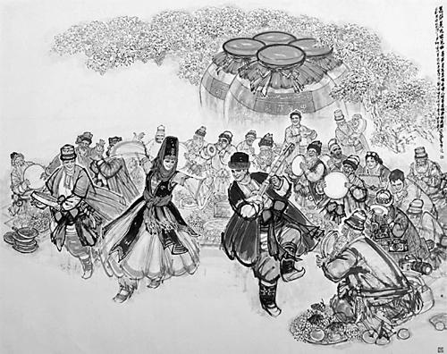 也成为新疆,河南文化交流日益丰富的一个标志,是新疆中国画创作走进图片