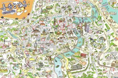 新版手繪上海書店指南出爐 囊括多個書城書店等(圖)