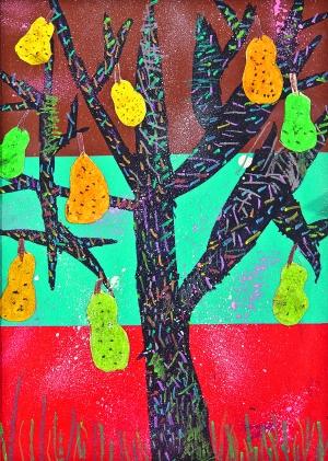 儿童画《水果树》 作者:黄钰凯(10岁)