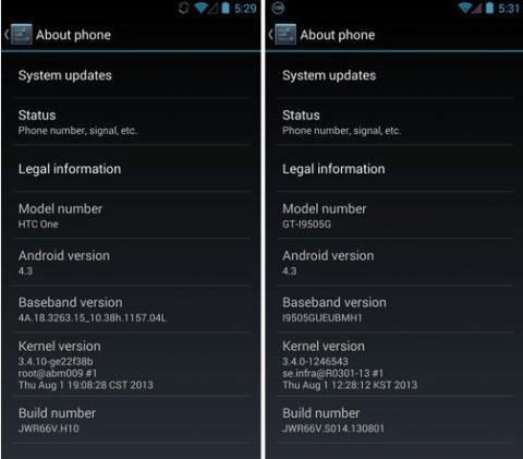谷歌版三星S4/HTC One获安卓4.3升级推送