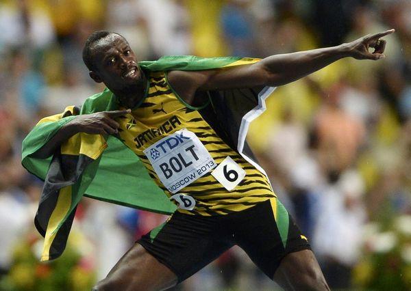 图文:[世锦赛]博尔特男子百米夺冠 闪电博尔特