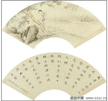 而黄山寿的《松下横琴》体现出熟稔的人物线描功力,深山之中松鹤琴韵