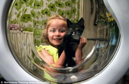 """""""乖乖""""钻洗衣机,被洗了50分钟差点没命。翻摄每日邮报"""