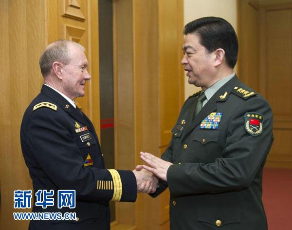 资料图:中国国务委员兼国防部长常万全在北京会见美军参谋长联席会议主席登普西。