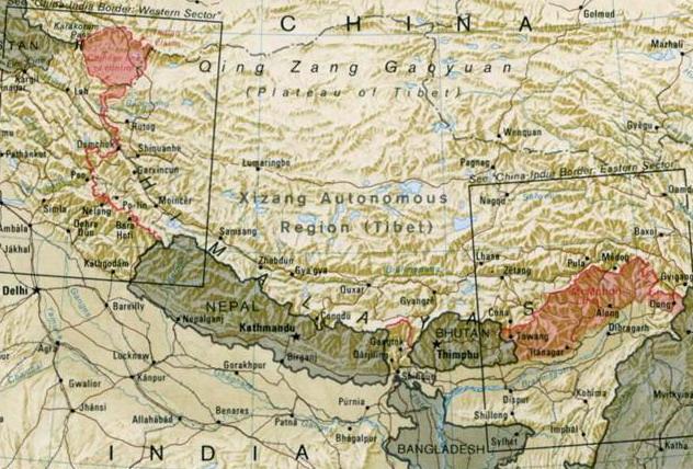中印边境地图(资料图)