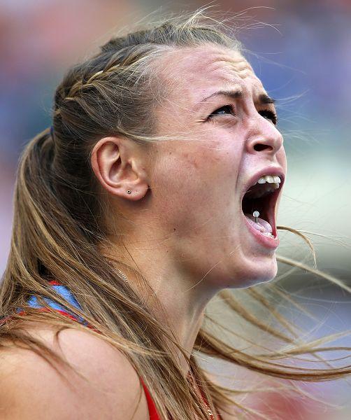 图文:世锦赛女子标枪决赛 俄选手怒吼