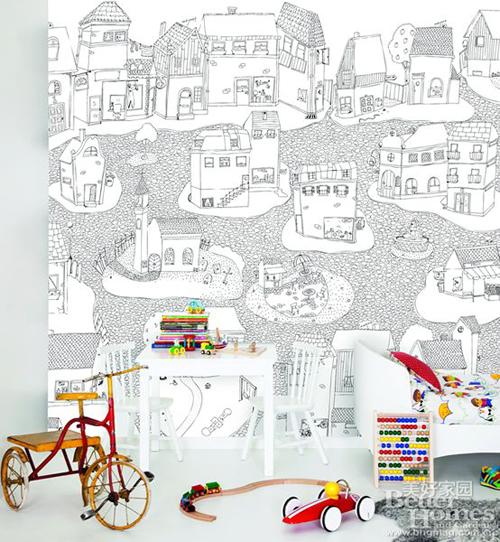 """""""干净的黑白色手绘图案壁纸将孩子们的房间映衬得更敞亮."""