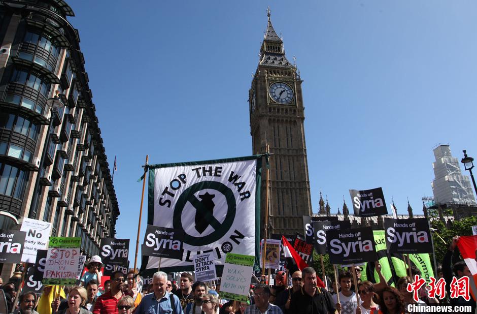8月31日,英国首都伦敦爆发大规模示威游行,反对向叙利亚动武.图片