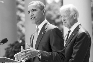 奥巴马在白宫玫瑰花园就叙问题发表声明