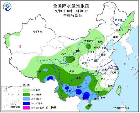 中新网9月3日电据中央气象台消息,未来三天,中国多地将迎强降雨过程,云南广西局地有大到暴雨。
