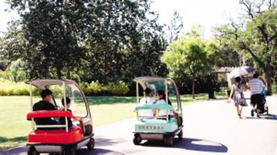 暑期期间,动物园每天吸引三四千游客游览,自驾观光车成了不少市民游览代步的工具,方便市民游览动物园,观光车每天有30%左右的使用率。观光车上明确规定16岁以下儿童不准驾驶,可部分家长大撒把让孩子自行驾车,观光车在园内来回画龙让路过的游客惊出一身冷汗。   家长大撒把 两儿童驾车园内乱窜   小孩开观光车在动物园来回窜,连个跟着的大人都没有,太悬了。市民陈女士向记者反映。昨天上午,记者来到动物园观光车租赁点看到,电动观光车每辆车只有一排座椅,能坐2个成人。在租赁须知上和车内均有明显标注,规定16