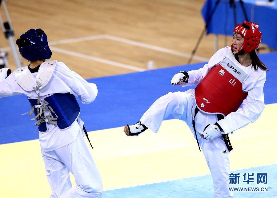 当日,在沈阳举行的第十二届全运会跆拳道男子80公斤以上级决赛中,解放