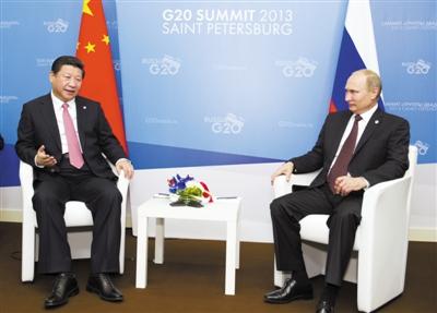 昨日,国家主席习近平在圣彼得堡会见俄罗斯总统普京。新华社记者 黄敬文 摄