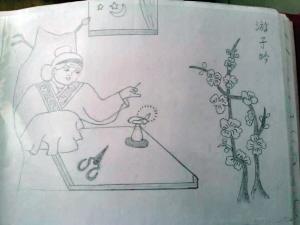 刘瑞兰老人创作的铅笔画《游子吟》(上)和《回乡偶书》(下) 图据网络图片