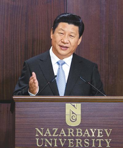 九月七日,国家主席习近平在哈萨克斯坦纳扎尔巴耶夫大学发表题为《弘扬人民友谊 共创美好未来》的重要演讲。