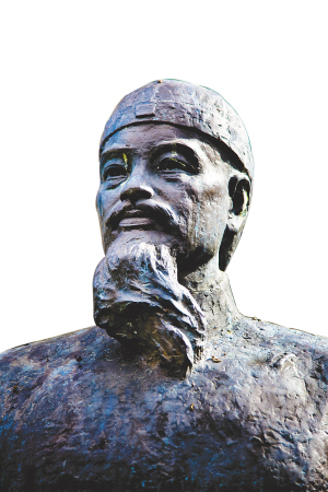 琼台书院掌教 进士谢宝雕像 海南日报记者 李幸璜