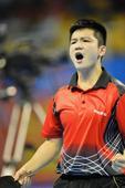 图文:全运乒乓球男单半决赛 樊振东霸气怒吼
