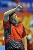 图文:全运乒乓球男单半决赛 王皓擦拭汗水