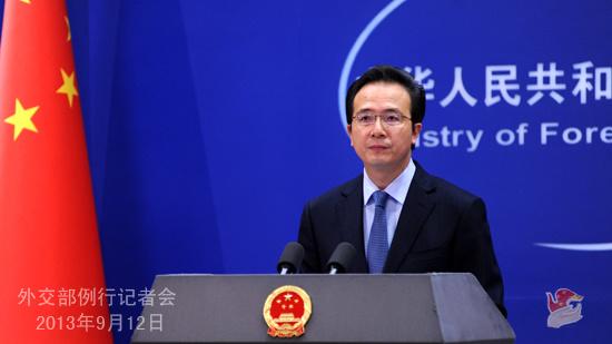 2013年9月12日,外交部发言人洪磊主持例行记者会。
