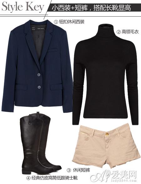 示范搭配:拼接小西装   高领针织衫   卡其色高腰短裤   长靴