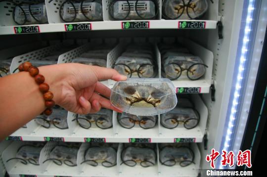 图为:自动售货机内销售的大闸蟹。 李晨韵 摄