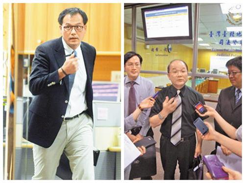 王金平委任律师许英杰(左,陈君玮摄)前往台北地方法院撤回紧急处置抗告权,随后前往台湾高院递状要求公开抽签;国民党委任律师陈明等3人(上,林伟信摄)昨也赴台北地院递抗告补充状。
