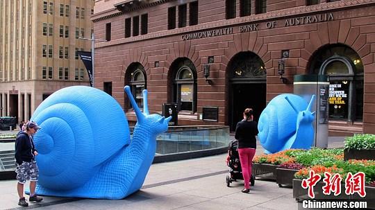 图为出现在悉尼市中心马丁广场的两只大蜗牛。中新社发 朱大强 摄