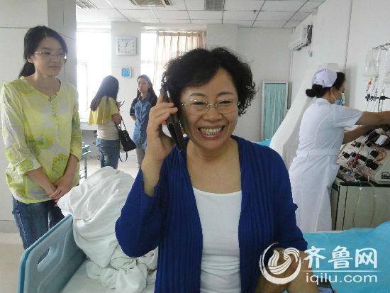 山东省红十字会领导过来看望捐献者朱阿姨