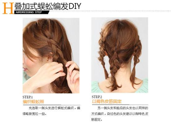 中长发款—叠加式蜈蚣编发步骤1,2图片