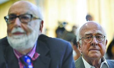比利时科学家恩勒特(左)和英国科学家希格斯(右)有望获得诺贝尔物理学奖。