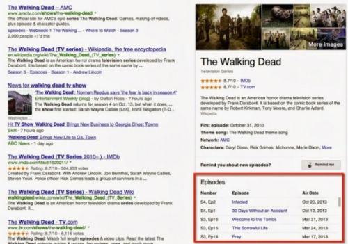 谷歌专门用《行尸走肉》做了一个说明  从图中可以看到,在搜索页的右方列出了该剧在IMDB、TV.com上的评分、剧集的简介以及播放时间。