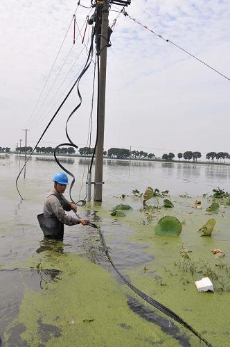 组图 10月9日,国网嘉兴供电公司王江泾供电所抢修人员在王江泾镇