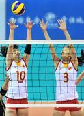 图文:[东亚运]女排3-0日本夺冠 中国双人拦网