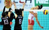 图文:东亚运女排中国胜日本夺冠 许若亚扣球
