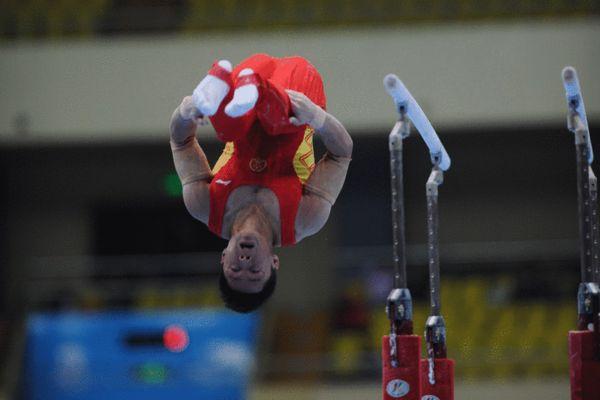 图文:东亚运体操比赛进行 刘榕冰下法完美
