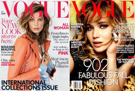 VOGUE英国版(左)和美国版(右)9月刊封面