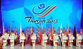 图文:第六届东亚运动会闭幕 运动员代表入场