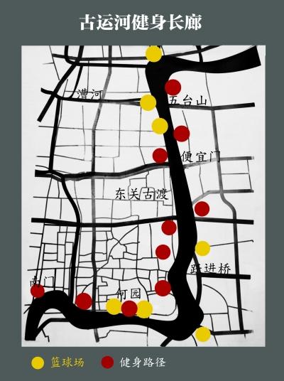 图中标示了古运河健身长廊处的篮球场及锻炼路径位置。杭树志 制图