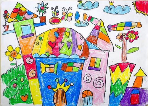 """梦幻城堡; """"幼儿教师美术作品展评""""活动;图片图片"""