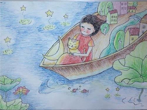 -2 崔舒雯 10岁 梦中水乡-少儿绘画大赛作品展示 陕西地区