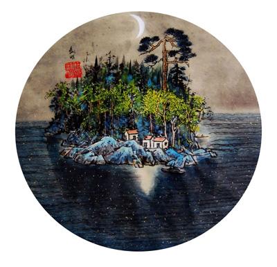 《静夜》水墨 68cm×68 cm 2012年