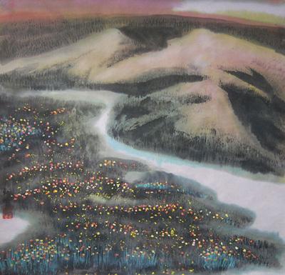 故乡的小河 68cm×68cm水墨 2010年