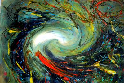 宇宙意象风景之一 78cm×68cm 水墨 2013年