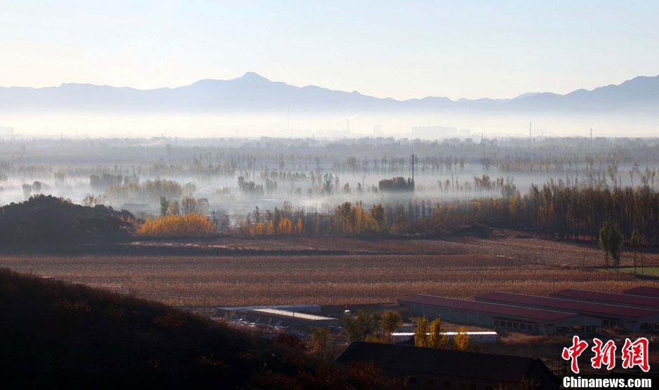 11月4日清晨,北京市密云县西康各庄村炊烟袅袅晨雾缭绕,美丽的初中村绿乡村作文图片