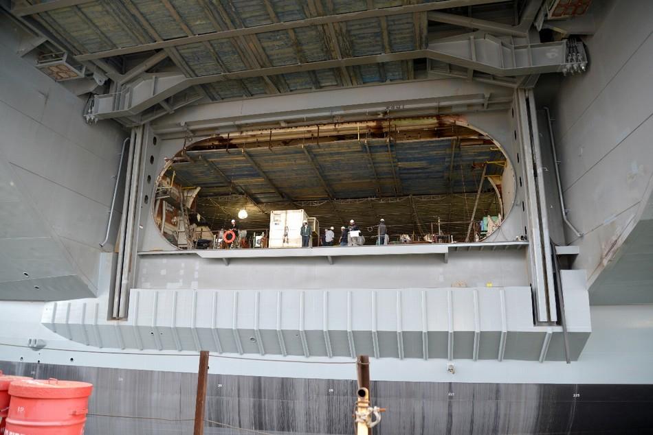 福特号航母内部建造情况 美国福特号航母电磁弹射器真容